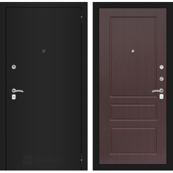 Дверь CLASSIC 03 черная шагрень – Орех премиум