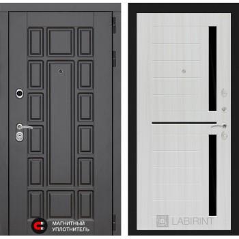 Дверь NEW YORK  02 – Сандал белый (черное стекло)