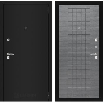 Дверь CLASSIC 09 черная шагрень – Лен сильвер грей