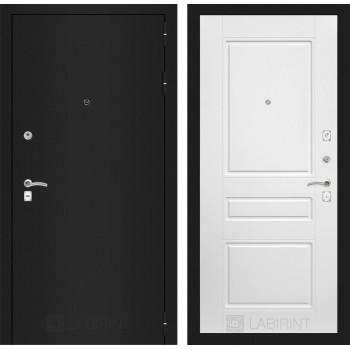 Дверь CLASSIC 03 черная шагрень – Софт белый