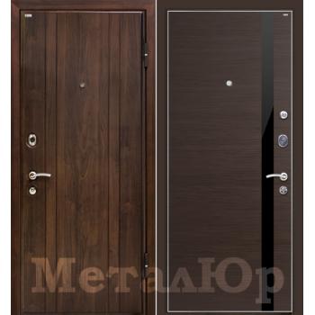 Дверь МеталЮр M6 (венге кроскут-черный глянец)
