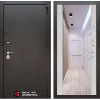 Дверь SILVER с Зеркалом – Сандал Белый