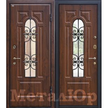 Дверь МеталЮр M30 (темный орех)