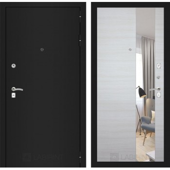 Дверь CLASSIC  черная шагрень с зеркалом –  Акация горизонтальная светлая