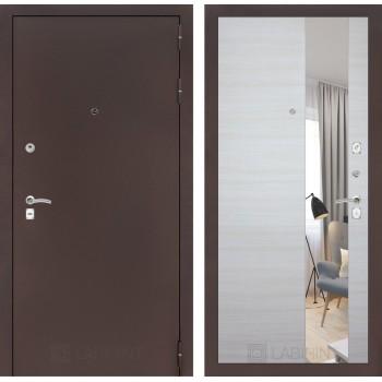 Дверь CLASSIC медный антик с зеркалом –  Акация горизонтальная светлая