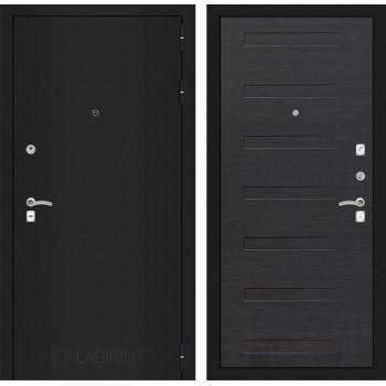 Дверь CLASSIC 14 черная шагрень – Эковенге поперечный
