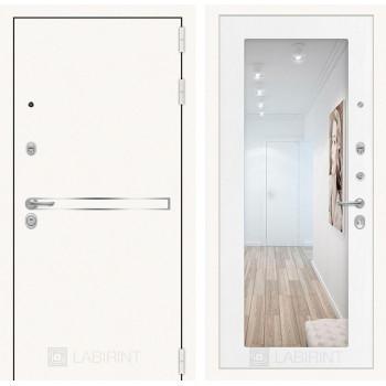 Дверь LINE WHITE с Зеркалом 18 - Белое дерево
