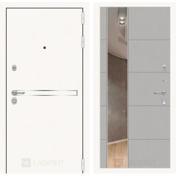 Дверь LINE WHITE с Зеркалом 19 - Грей софт