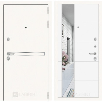 Дверь LINE WHITE с Зеркалом 19 - Белый софт
