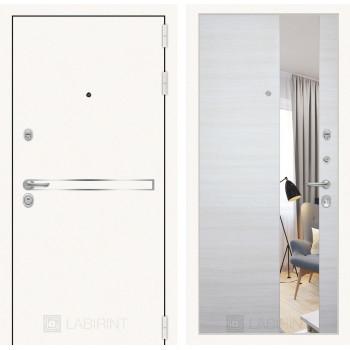 Дверь LINE WHITE с Зеркалом - Акация светлая горизонтальная
