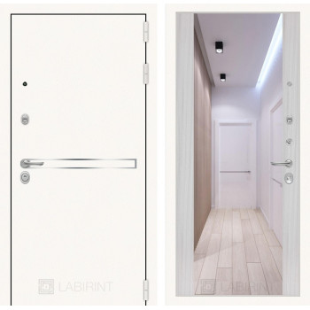 Дверь LINE WHITE Зеркалом Максимум - Сандал белый