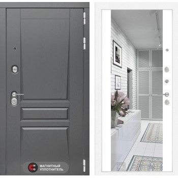Дверь PLATINUM с Зеркалом Максимум - Белый софт