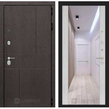 Дверь URBAN с большим зеркалом - Сандал белый
