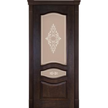 Межкомнатная дверь Алина 02 Кофе (остекленная)
