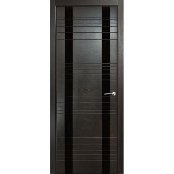 Межкомнатная дверь V - II (стекло черное)